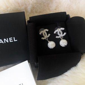 Chanel CC Stud Drop Earrings